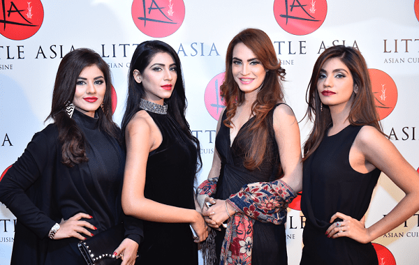 Pakistan's top model Nadia Hussain (second right), Dania Shaikh, Aqsa Ali and Kanwal Illyas at the launch.