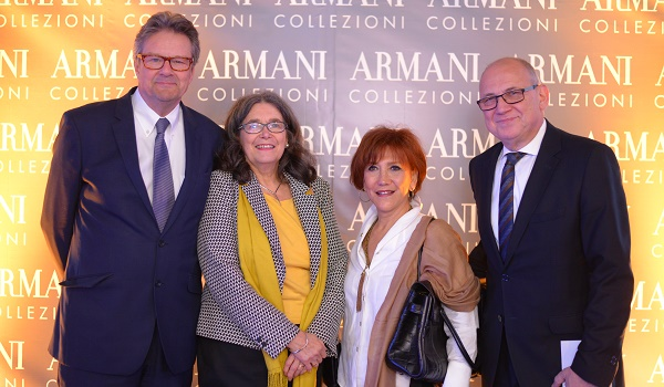 H.E. Ambassador of Sweden Mr. Tomas Rosander with his Madame and Mr and Mrs Hartmut Noack at the launch of Armani Collezioni Store in Islamabad