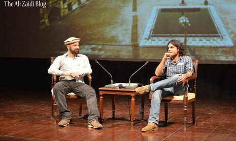 German artist Manolo Ty (left) at the launch of his book at PNCA in Islamabad, Pakistan