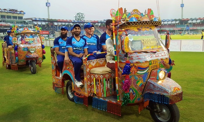 World XI team lap of honour at Gaddafi Stadium, Lahore