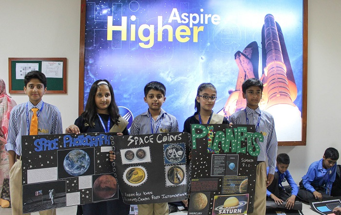 Students present their artworks at World Space Week 2017 event at Institute of Space Technology in Islamabad.