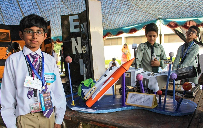 Ali Abdul Rehman, 8, with his Mars Rover model at World Space Week 2017 event in Islamabad.