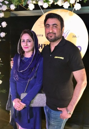 Dr. Aamir Rashid and his wife at the launch of Chikachino in Islamabad