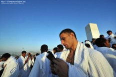 Muslim pilgrims pray at Mount Arafat, southeast of the Saudi holy city of Mecca. Nov. 5, 2011. (Fayez Nureldine - AFP/Getty Images)