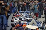 Protestors sleeping on road