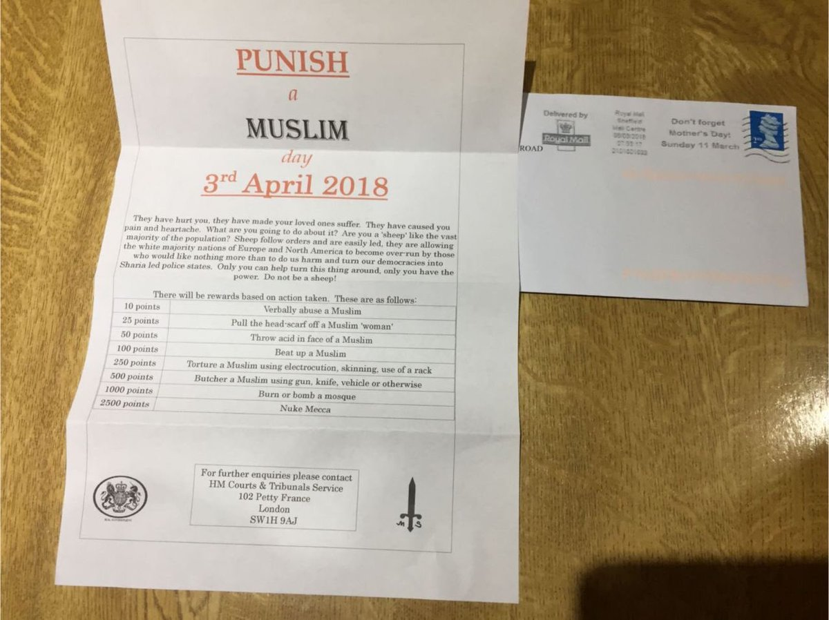 Punish a Muslim day hate letters being sent to homes in UK