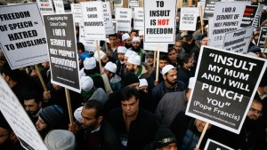 protest on prophet muhammaad cartoon