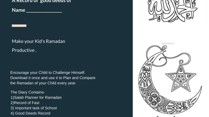 Printable Ramadan Planner For Kids Islam Hashtag