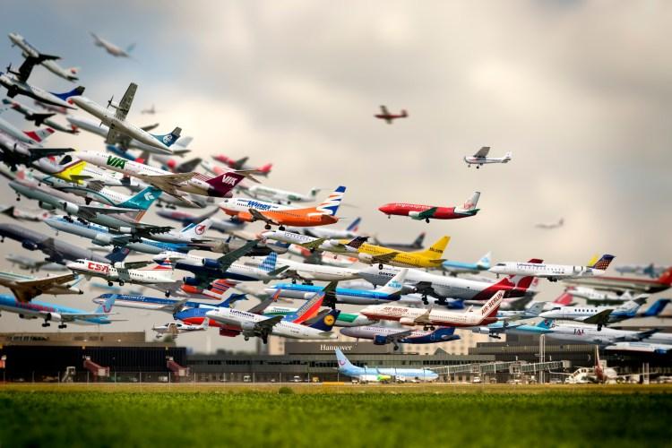 Cinco horas de aterrizajes en un aeropuerto en una imagen
