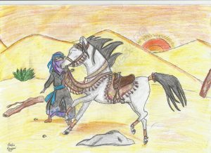 An Islamic Illustration of a beduin girl and her horse in the desert