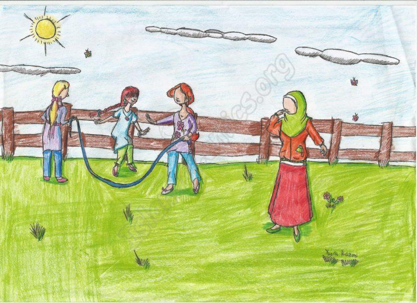 Islamic Illustration of girls playing jump-rope