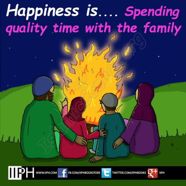 Happiness is spending quality time with the family - Islamic Illustrations (Islamic Comics)