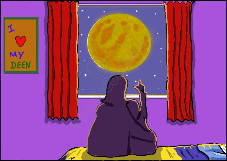 Rami and his mother look at the moon in a strange red light – Rami is scared