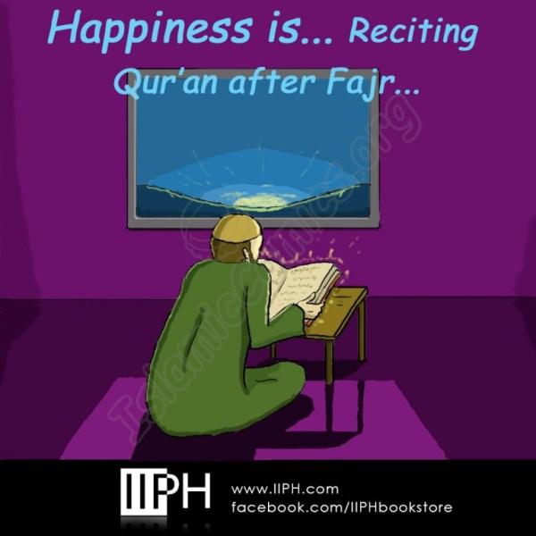 Happiness is reciting Quran after Fajr - Islamic Illustrations (Islamic Comics)