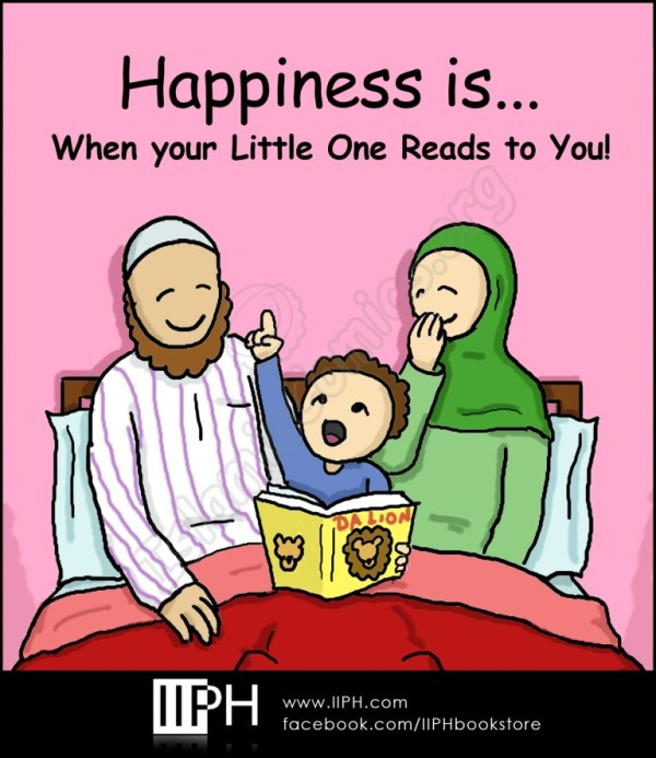 Happiness is when your little one reads to you - Islamic Illustrations (Islamic Comics)