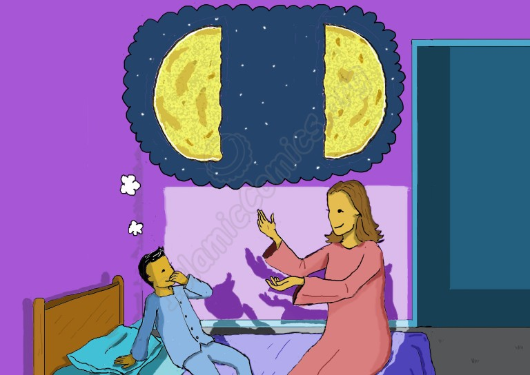 Rami's mother tells him that on one occasion, Allah (SWT) allowed the Prophet Muhammad (SAW) to split the moon in two
