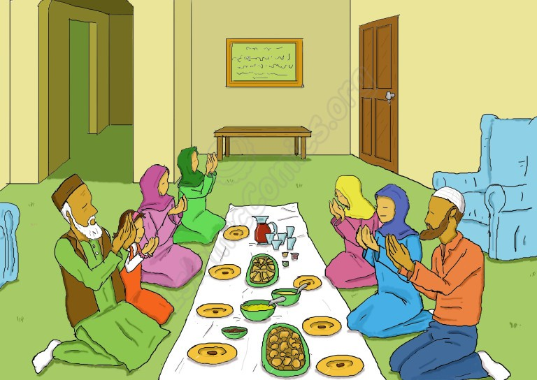 All of Zainab's family members are making du'aa before Iftaar