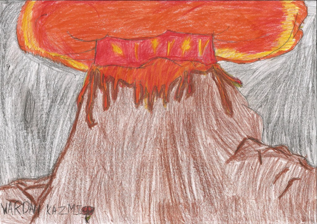 Erupting Volcano by Wardah Kazmi, Age 6 - Illustrations by Muslim Kids