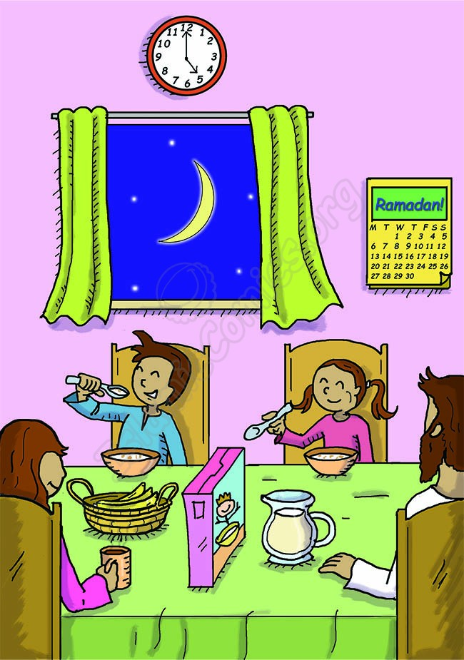 The whole family is enjoying their suhoor (Illustrations about Ramadan)