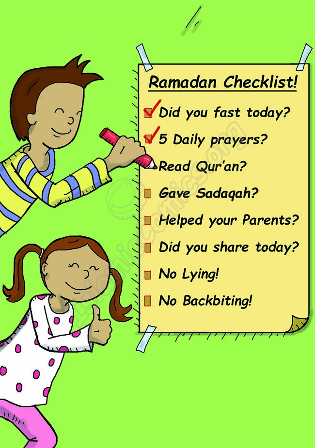 The boy and girl are looking at their Ramadan Checklist! (Islamic Illustrations)