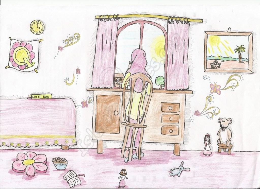 Muslim Girl at Her Work Desk - Islamic Illustrations