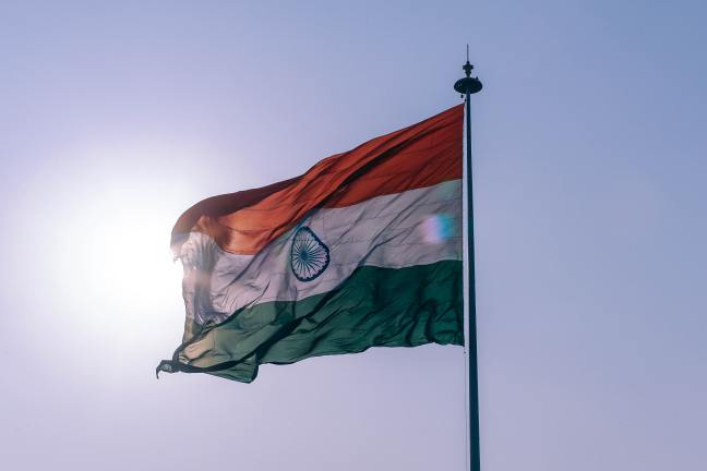 Photograph of Indian flag flowing in the wind