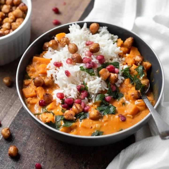 Sweet Potato Lentil Curry with Crispy Sesame Chickpeas