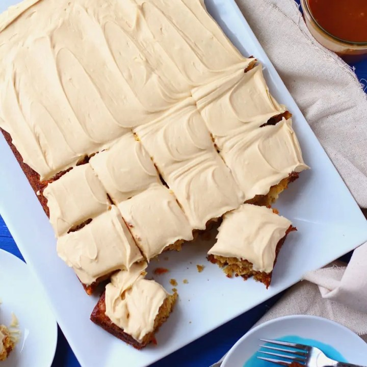 Tropical Carrot Sheet Cake with Salted Caramel Frosting