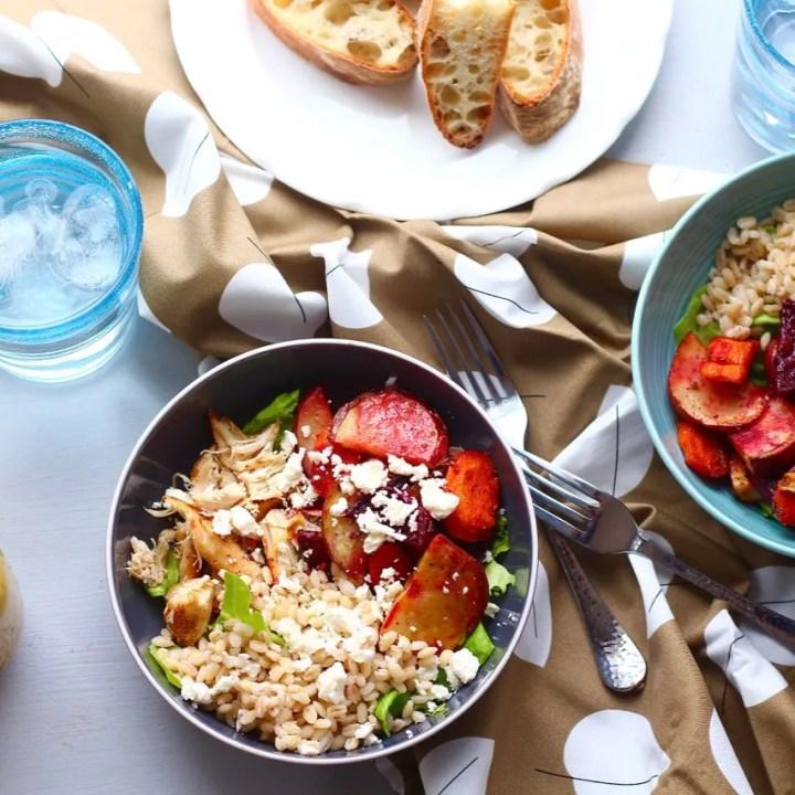 Roasted Veggie, Chicken and Barley Salad