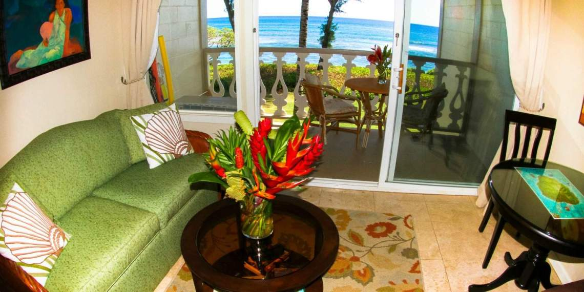 Living Room View Islander on the Beach Kauai 346