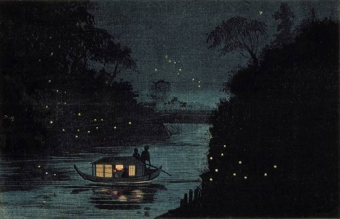 Painting of night-time boat flanked by fireflies