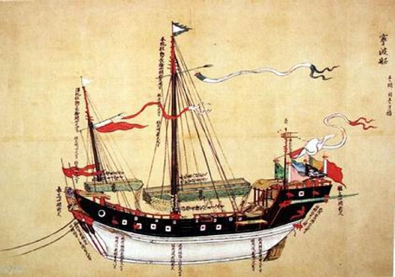 Painting of traditional Chinese vessel