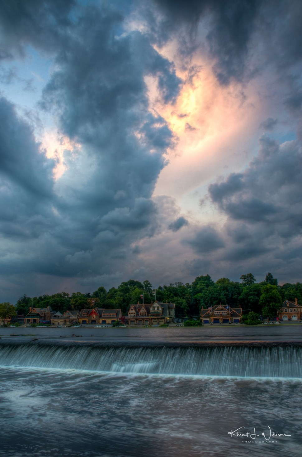 """Boathouse Row, Schuylkill River, Philadelphia, Pennsylvania.??The instructor came running over to me. I had my camera pointed toward the Fairmount Water Works. He said, """"Khürt, look up to your left"""". I wish I had a pano head."""