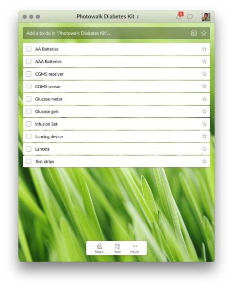 diabetes, checklist, Wunderlist, screenshot