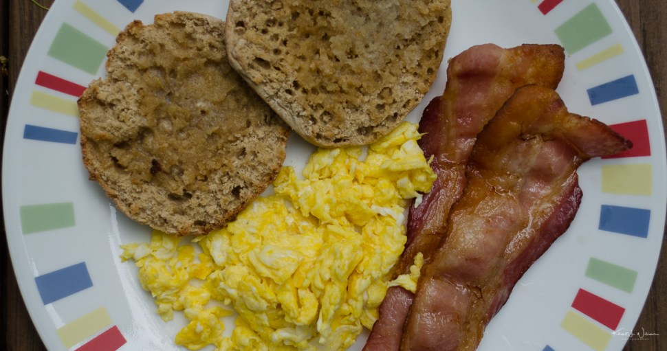 bacon, eggs, muffin, plate, healthy