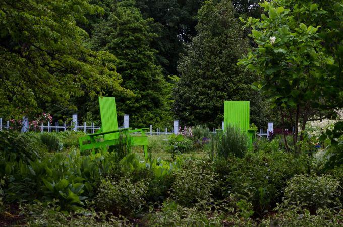 Chairs, Green, Rutgers Gardens