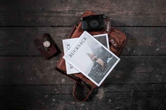 Sunday Paper, Rucksack, Magazine, Camera, Pocket Watch, Notebook, Leather, Range Finder Camera, Camera, Ruck