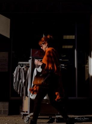 Woman, Walking, Orange Hari, Orange Shawl