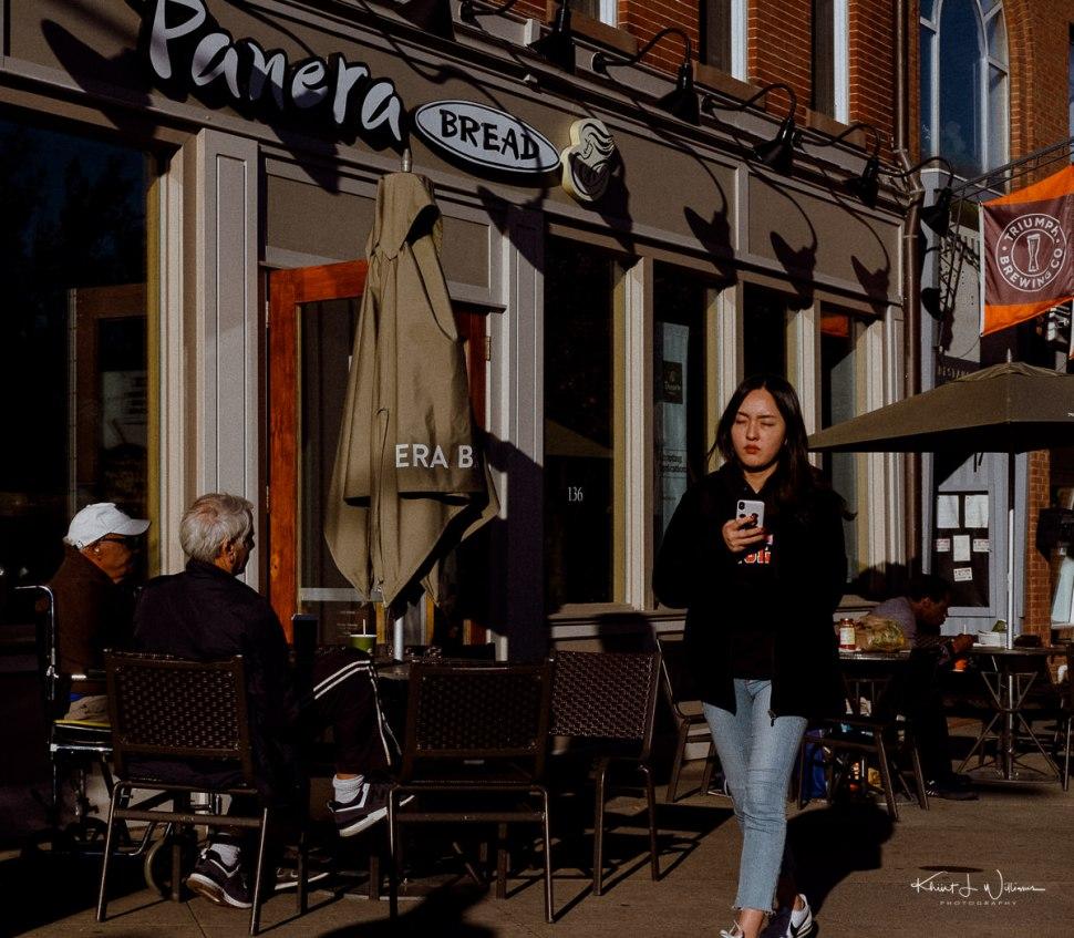 Woman, Walking, Street, Sunny