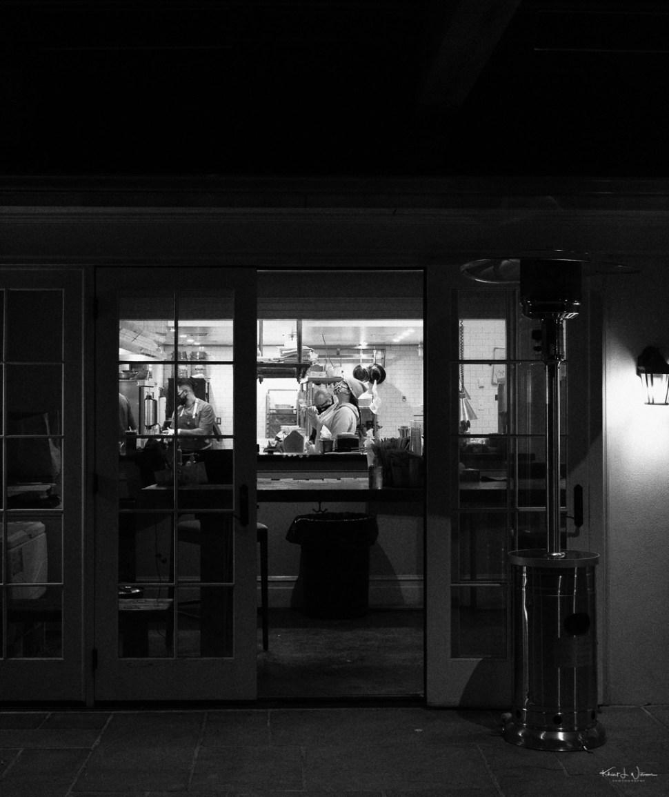 view into the kitchen at Brick Farm Tavern