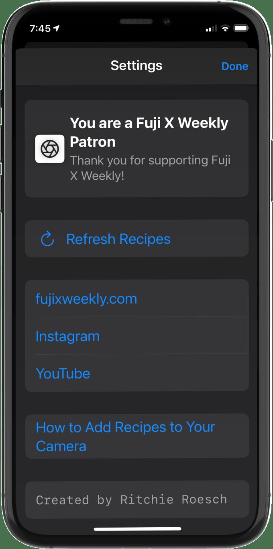 Film Recipes App Settings
