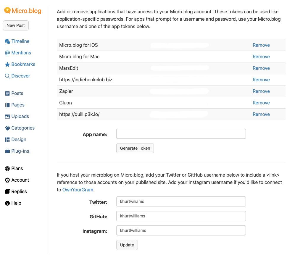 micro.blog screen shot