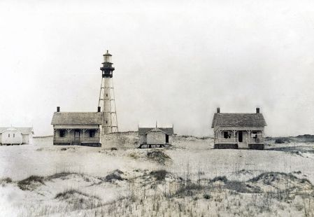 The former Cape Fear lighthouse stood on Bald Head Island. It was dynamited in 1958 to make way for the Oak Island Lighthouse, on the opposite shore.