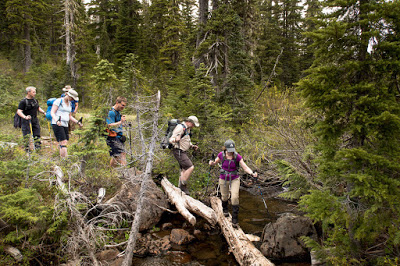 Several of the hikers crossing one of the water crossing on the Paradise Meadows to Wood Mountain Route
