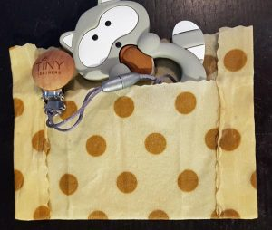 Beeswax wrap baby teether or soother protector