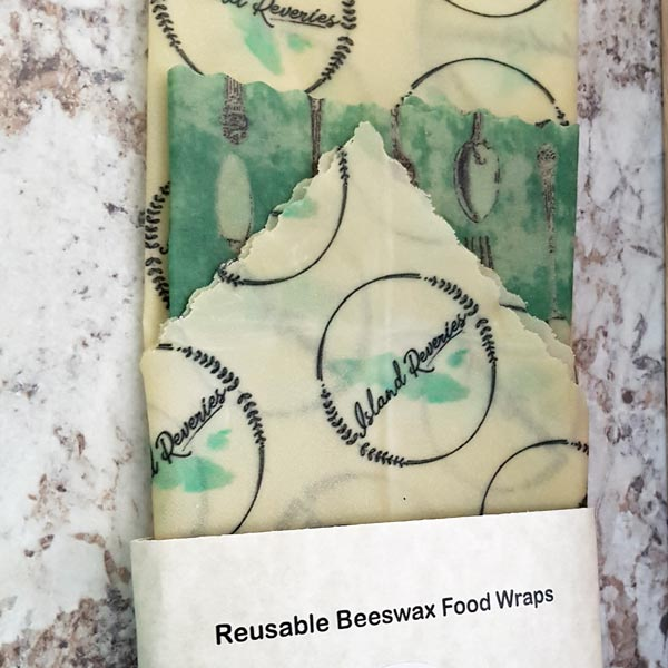 personalized beeswax wrap with company logo, made on Vancouver Island by Island Reveries