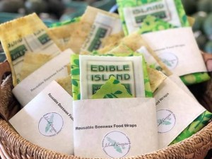 custom branded beeswax wraps for Edible Island, made locally in Comox Valley, Canada