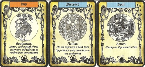 Alchemy prototype action cards.