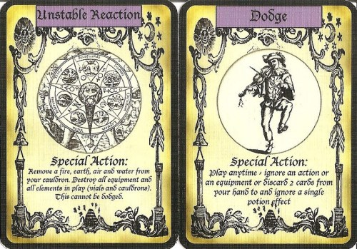 Alchemy prototype defense action cards.