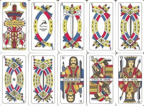 Briscola can be played with a 52-card pack by removing the 8s, 9s, and 10s. But it's more authentic with a 40-card Italian suited deck, like the Triestine shown here (swords).